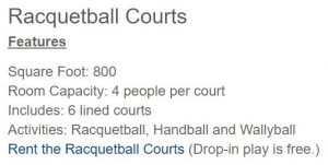 2017 UCSC racquetball courts