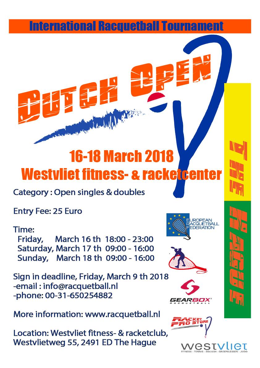 Dutch Open Racquetball Tournament 2018