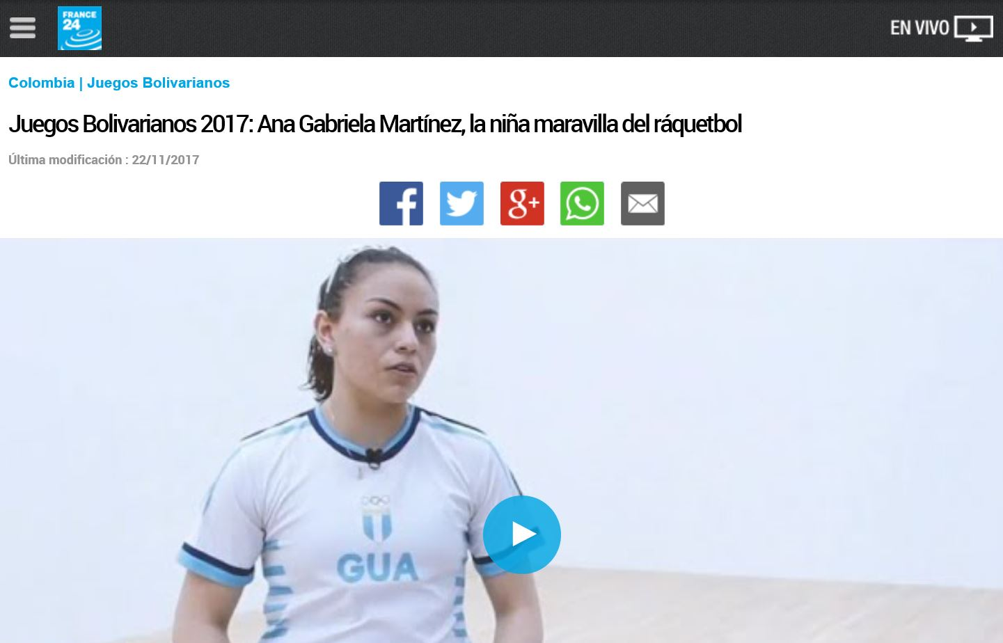 france24 Gaby Martinez Racquetball Guatemala