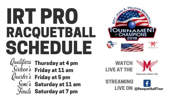 IRT Schedule In Portland Racquetball Tournament