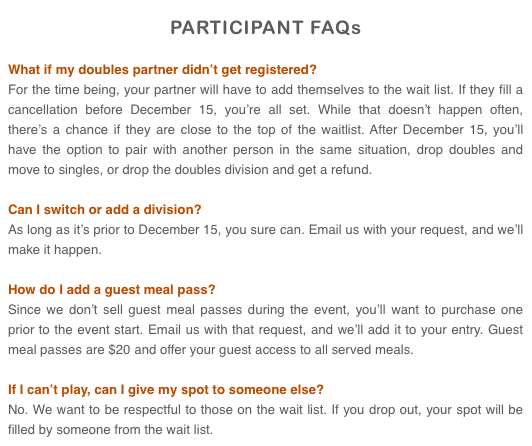 Longhorn Open Racquetball Tournament FAQ