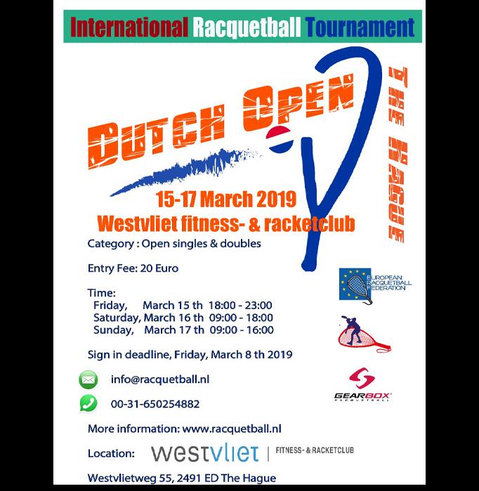 Dutch Open 2019 Racquetball Tournament
