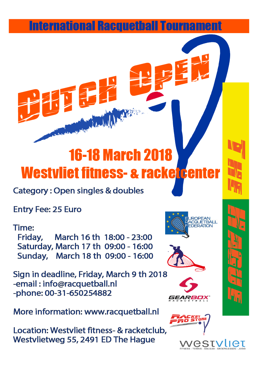 Dutch Open Racquetball Tournament 2018