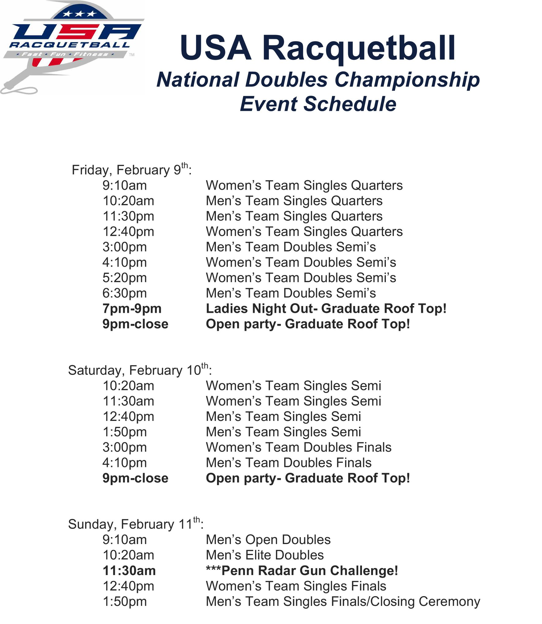 USA National Doubles Racquetball Broadcast Schedule