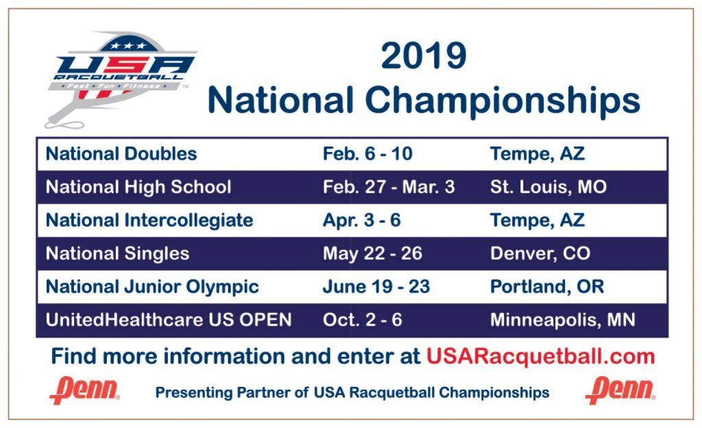 USA Racquetball 2019 Schedule